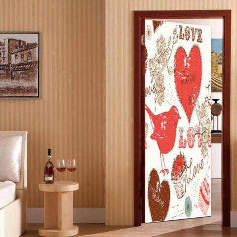 Outfit Bird Heart Pattern Valentine's Day Door Art Stickers