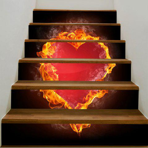 Buy Valentine Burning Heart Pattern Enviromental Removable Stair Stickers