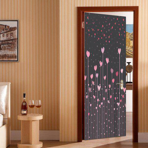 Trendy Heart Set Shrubs Pattern Door Art Stickers