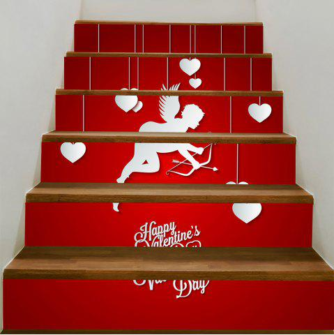 Latest Valentine Theme Cupid Print Removable Stair Stickers