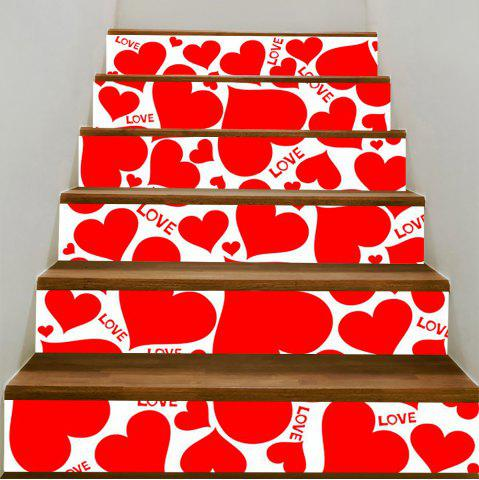 Store Heart Shape Printed Stair Stickers