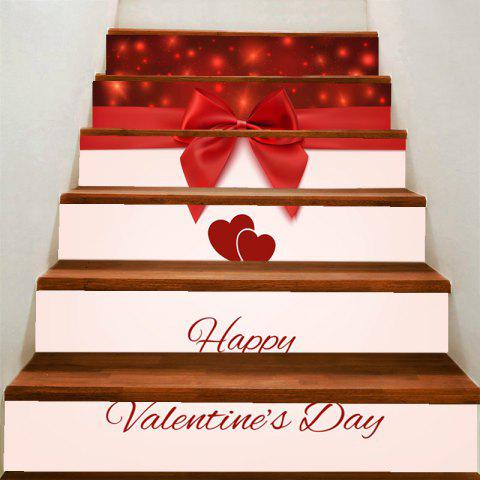 Sale Valentine's Day Lovers Heart and Bowknot Print Home Decals Removable Stair Stickers