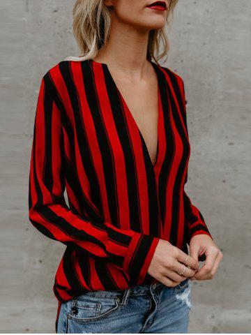 Plunging Neck Striped Shirt