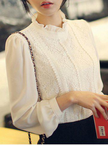 Ruffle Neck Lace Panel Top