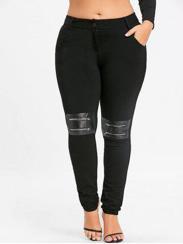 Cheap Plus Size Zippers Embellished Tight Pants