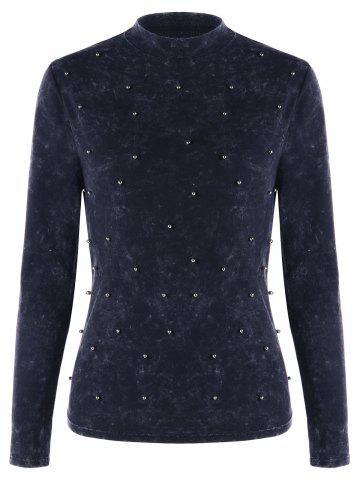 Beaded Mock Neck Velvet Top