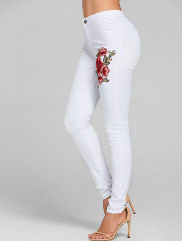 Fancy Flower Embroidered Colored Skinny Jeans