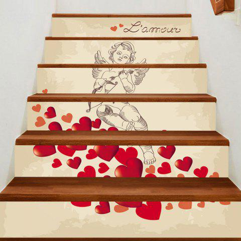 Buy Valentine's Day Romantic Valentine Cupid Pattern Stair Decor Stickers