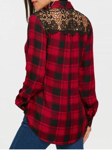New Lace Panel Long Sleeve Tartan Plaid Shirt