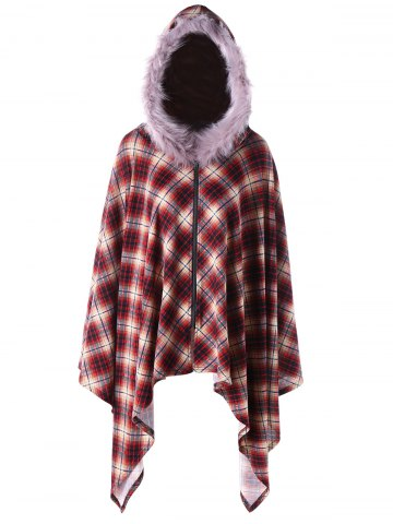 Affordable Plus Size Faux Fur Hooded Plaid Poncho Coat
