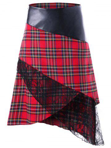 Fancy Plaid Lace Panel Overlap Skirt