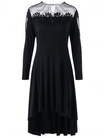 Plus Size Sheer Appliqued High Low Dress