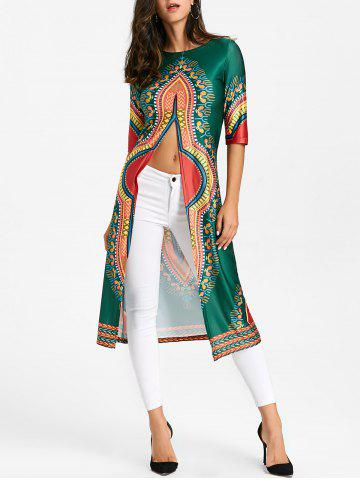 Hot High Slit Tribal Print Midi Dress