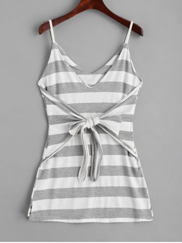 Bowknot Stripes Slip Mini Dress