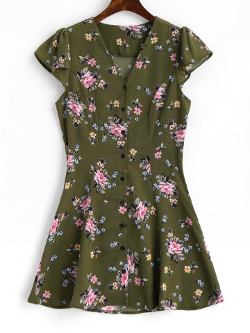 Affordable Button Up Cap Sleeve Floral Mini Dress
