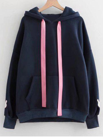 Trendy Contrast Ribbon Rabbit Patches Hoodie