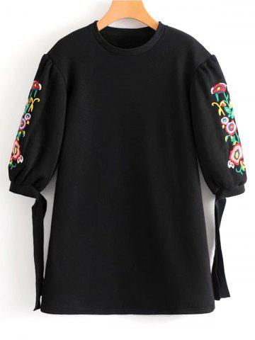 New Floral Embroidered Bow Tied Sleeve Mini Dress