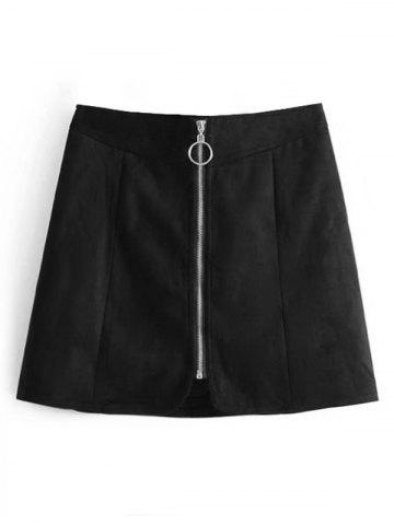 New Faux Suede Zip Up A Line Skirt