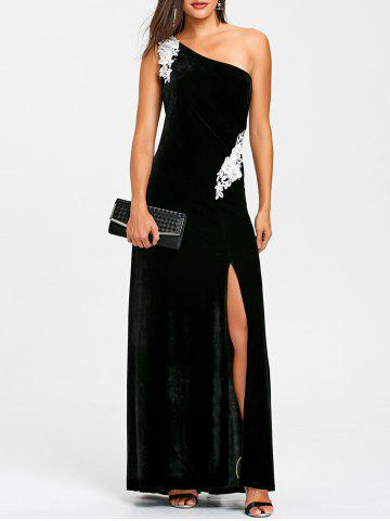 Online Applique One Shoulder Evening Dress