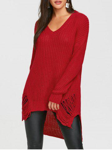 High Low Ripped Chunky Sweater