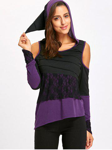 Hooded Cold Shoulder Asymmetric Top