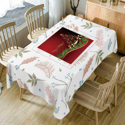 Christmas Tree Leaves Print Fabric Waterproof Table Cloth -