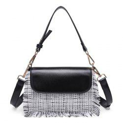 Contrasting Color Frayed Edge Crossbody Bag -