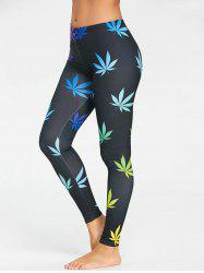 Colorful Leaf Printed Sports Leggings -