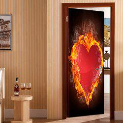 Valentine's Day Burning Heart Pattern Enviromental Removable Door Stickers -