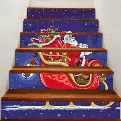 Christmas Santa Claus Drives A Sleigh Pattern Stair Stickers -