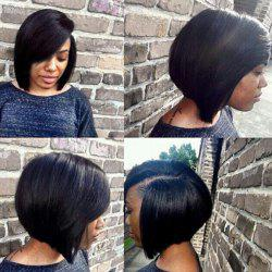 2019 Deep Side Parting Short Straight Bob Synthetic Wig Rosegal Com