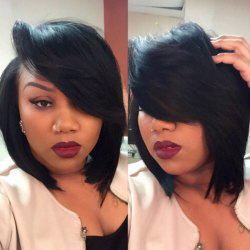 Deep Side Parting Straight Short Bob Synthetic Wig -