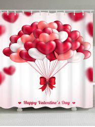 Waterproof Heart Balloons Printed Valentine's Day Shower Curtain -