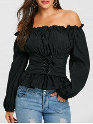 Smocked Lace Up Off The Shoulder Blouse -