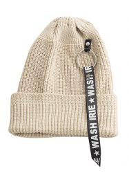 Letter Printing Pattern Embellished Flanging Ribbon Beanie -