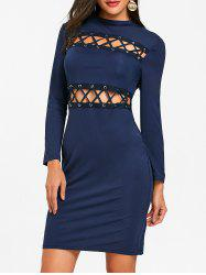 Hollow Out Lace Up Tight Club Dress -
