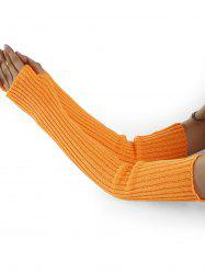Vertical Striped Pattern Crochet Knitted Arm Warmers -