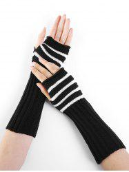 Outdoor Striped Pattern Embellished Knitted Fingerless Gloves -