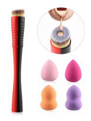 Professional Bevel Foundation Brush and 4 Makeup Sponges Puff Set -