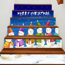 Christmas Smiling Snowmen Team Patterned Stair Stickers -