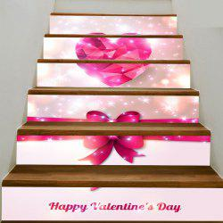Valentine's Day Heart and Bowknot Pattern Enviromental Stair Stickers -