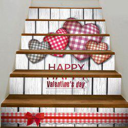 Valentine's Day Home Decoration Heart Printed Removable Stair Stickers -