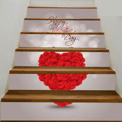 Autocollants d'escalier amovibles Rose Heart Print -