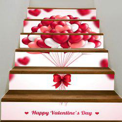 Valentine's Day Romantic Heart Balloon Pattern Decorative Stair Stickers -