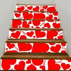 Valentine's Day Heart Shape Printed Stair Stickers -