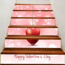 Valentine Theme Hanging Heart Print Stair Stickers -