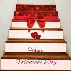 Valentine's Day Lovers Heart and Bowknot Print Home Decals Removable Stair Stickers -