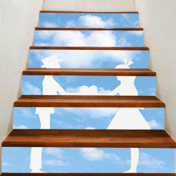 Valentine's Day Bluesky and Lovers Print Enviromental Stair Stickers -