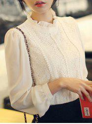 Ruffle Neck Lace Panel Top -