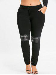 Plus Size Zippers Embellished Tight Pants -